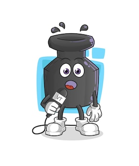 De cartoon van de inkt tv-verslaggever. cartoon mascotte