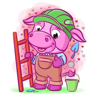 De cartoon van de paarse bouwer koe met ladder en staande in de buurt van de emmer