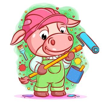 De cartoon van de roze koe die de helm gebruikt en de rolschildering vasthoudt