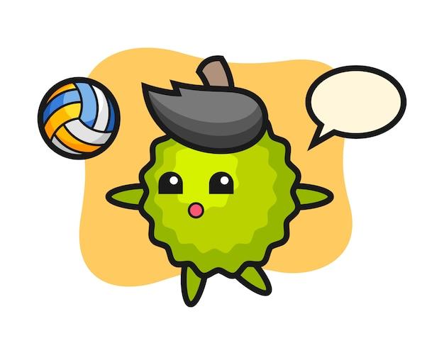 De cartoon van durian speelt volleybal