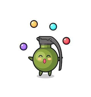 De cartoon van het granaatcircus jongleren met een bal, schattig stijlontwerp voor t-shirt, sticker, logo-element