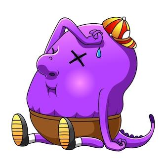 De cartoon van het monster paars met de hoed en broek zittend met het vermoeide gezicht