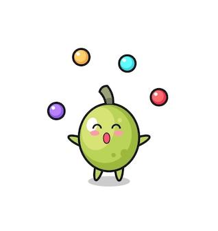 De cartoon van het olijfcircus jongleren met een bal, schattig stijlontwerp voor t-shirt, sticker, logo-element