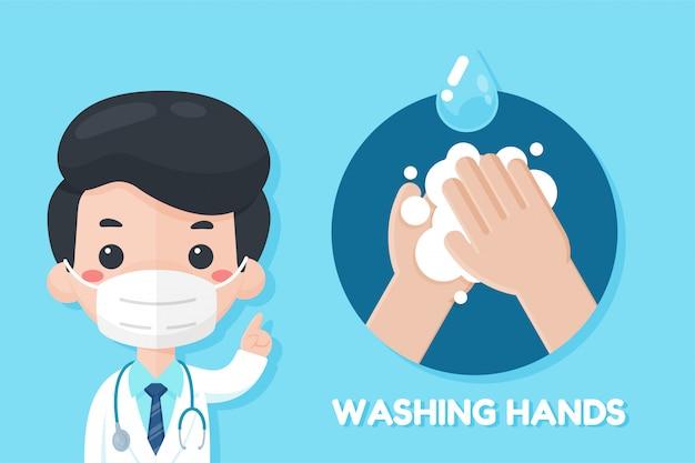 De cartoonarts raadt aan om de griep van het coronavirus te voorkomen door je handen te wassen met zeep.