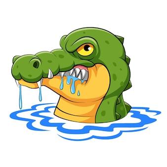 De cartoonkrokodil met de scherpe tanden komt uit het water