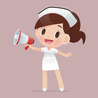 De cartoonverpleegster draagt een wit uniform en schreeuwt door een megafoon
