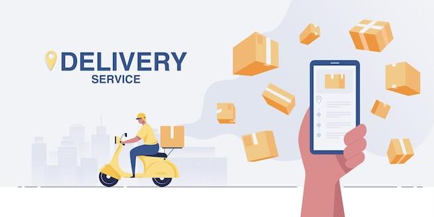 De chauffeur bezorgt pakketten met een scooter. express levering dienstverleningsconcept distributie levering. vectorillustratie.