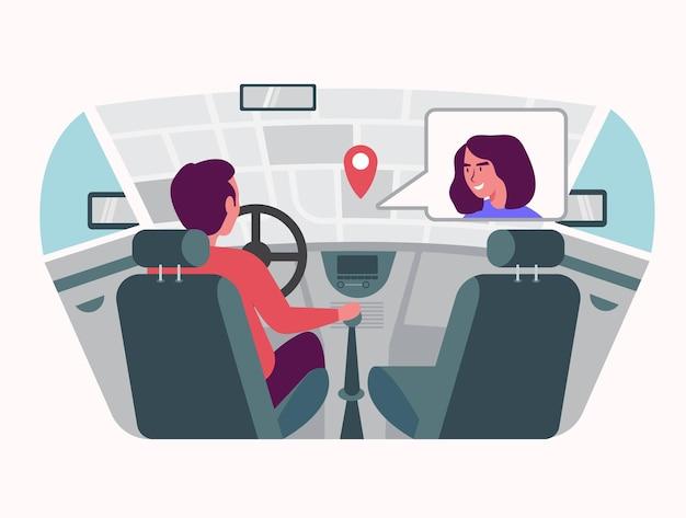 De chauffeur gebruikt hud-technologie om met gps te navigeren en met de bemanning te chatten.