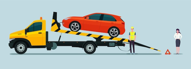 De chauffeur van de sleepwagen laadt de defecte auto in. vrouw auto-eigenaar horloges laden.