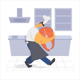 De chef-kok draagt zalm in de keuken
