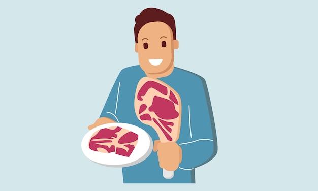 De chef-kok houdt vlees vast