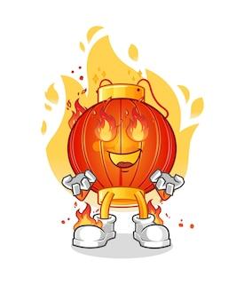 De chinese lantaarn in brand cartoon mascotte mascotte