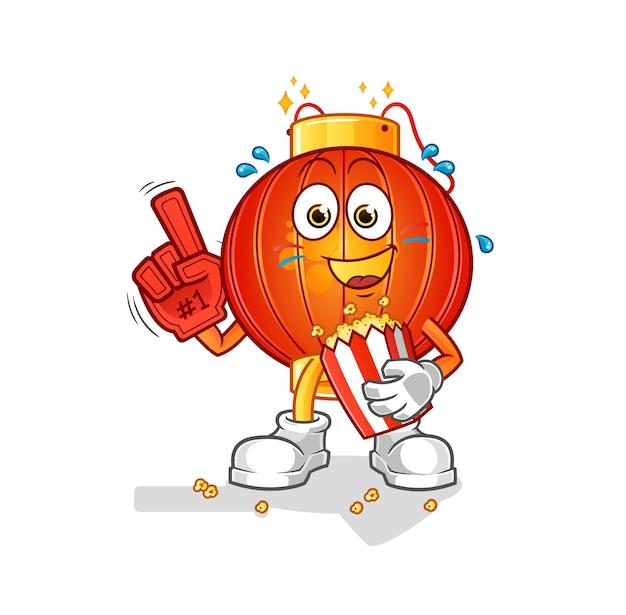 De chinese lantaarnventilator met de mascotte van het popcornkarakter