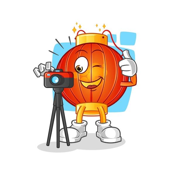 De chinese mascotte van het lantaarnfotograaf