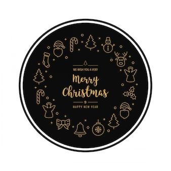 De cirkelelementen geïsoleerde achtergrond van het kerstmis gouden pictogram