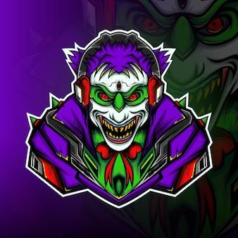De clown jager gaming mascotte logo vector