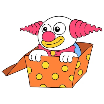 De clown verstopt zich in een kartonnen doos, vectorillustratiekunst. doodle pictogram afbeelding kawaii.