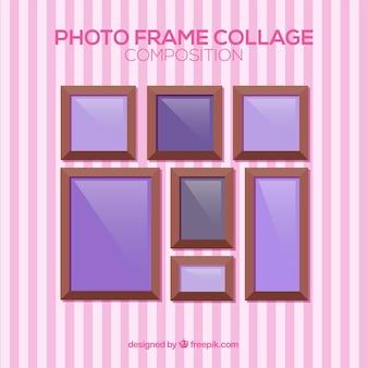 De collagesamenstelling van het fotokader met vlak ontwerp