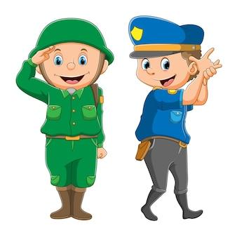 De collectie van de politie en het leger met de goede poses