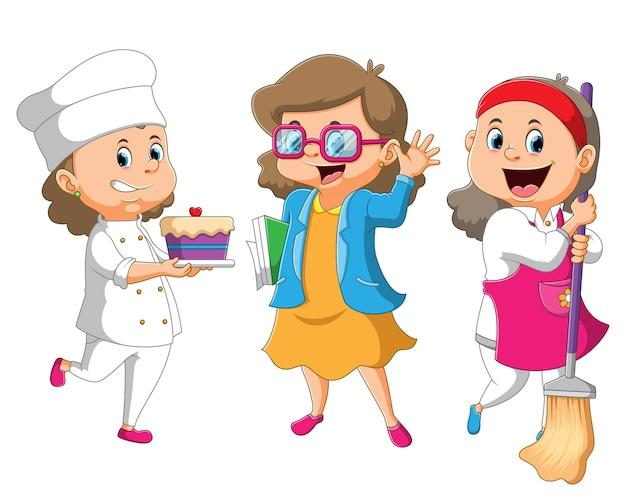 De collectie van de vrouwen met de verschillende banen chef, officier, huisvrouw