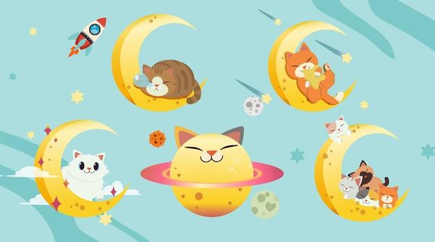 De collectie van kat met de maan ingesteld. de gelukkige kattenplaneet
