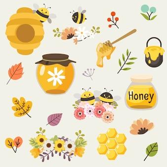 De collectie van schattige bijen en honing en bloemen en bladeren