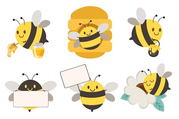 De collectie van schattige bijen in verschillende poses