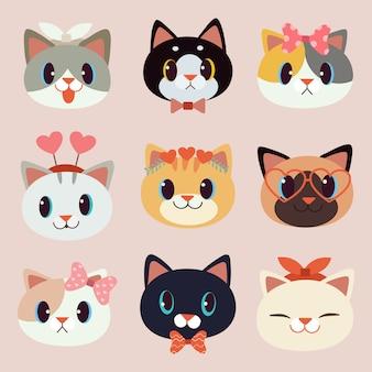 De collectie van schattige kat met accessoires in vlakke stijl.