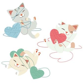 De collectie van schattige kat met hart van garen