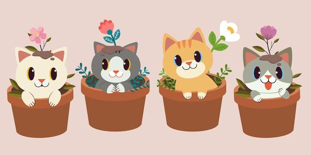 De collectie van schattige kat zit in de plant pot met bloem