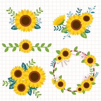 De collectie van schattige zonnebloem in de boquet en set