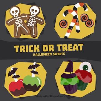 De collectie van verschillende snoep voor halloween