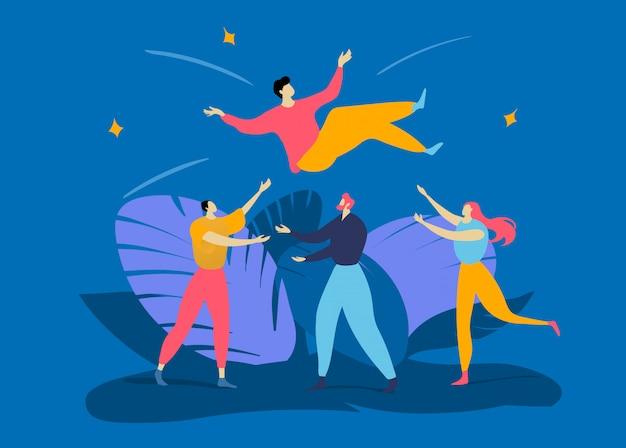 De collega'smensen die van het groepskarakter omhoog in lucht mannelijke, beste succesvolle arbeider op blauw werpen, conceptenillustratie.