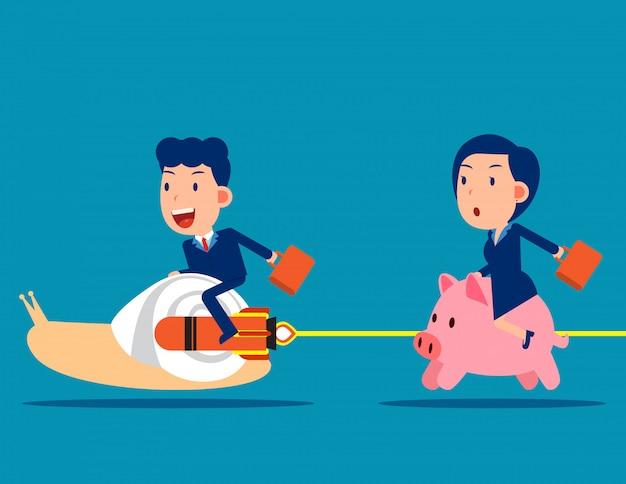 De competitie tussen de spaarpot en de slak van een collega