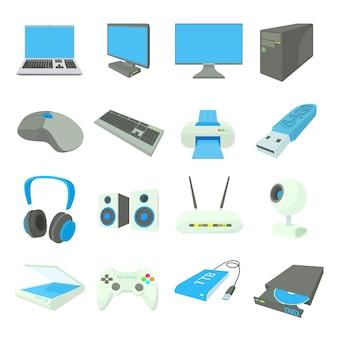 De computer equipmen pictogrammen in de vector van de beeldverhaalstijl worden geplaatst die