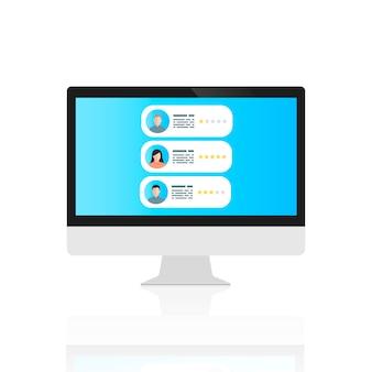 De computer met opmerkingen van gebruikers op het scherm