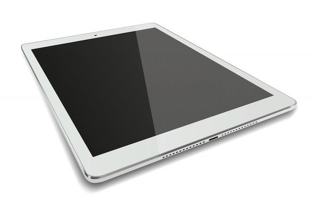 De computer van tabletpc met het zwarte scherm dat op witte achtergrond wordt geïsoleerd.