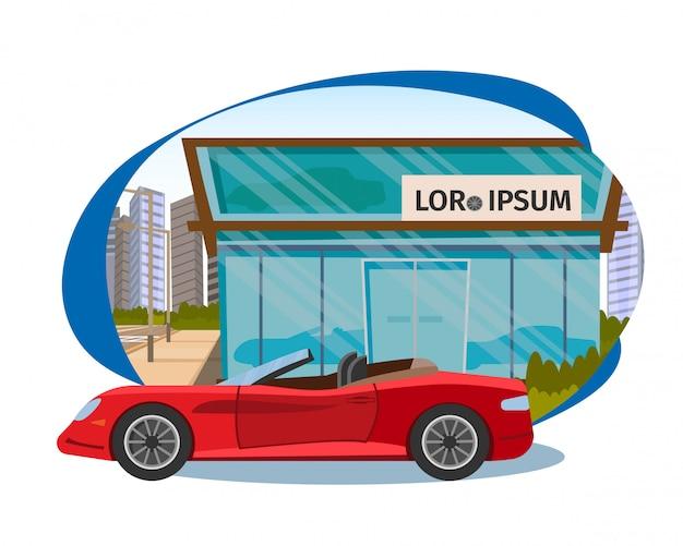 De conceptverkoop van nieuwe auto's in avto shop