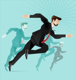 De concurrentie onder zakenlieden. de leider in de concurrentie tussen mensen en bedrijven