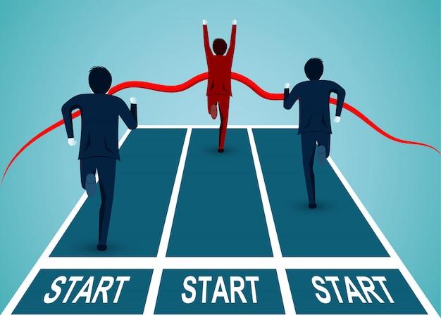 De concurrentie van ondernemers gaat naar de finish naar succes