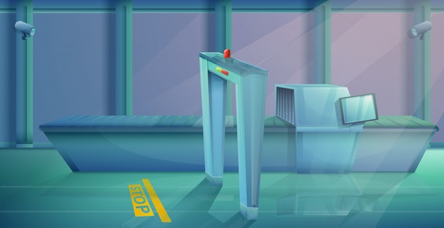 De controlepost van de beeldverhaalluchthaven, vectorillustratie
