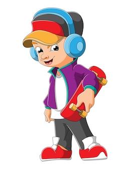 De coole jongen met het skateboard van de illustratie