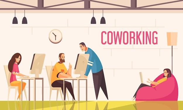 De coworkingmensen ontwerpen concept met groep positief gestemde creatieve personen die in bureau vlakke illustratie werken