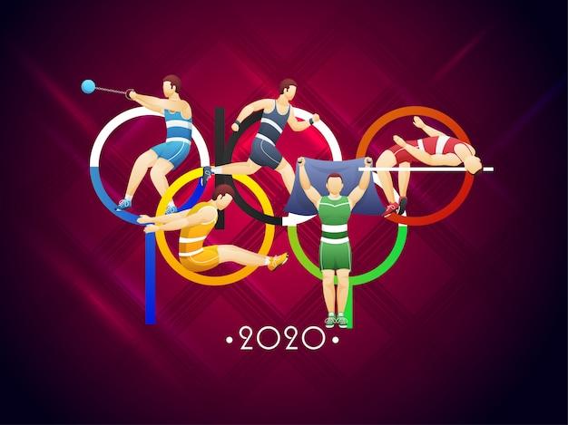 De creatieve kleurrijke tekst van tokyo met verschillende activiteitssportmannen of atletiek op de achtergrond van het geruit schots wollen stofpatroon.