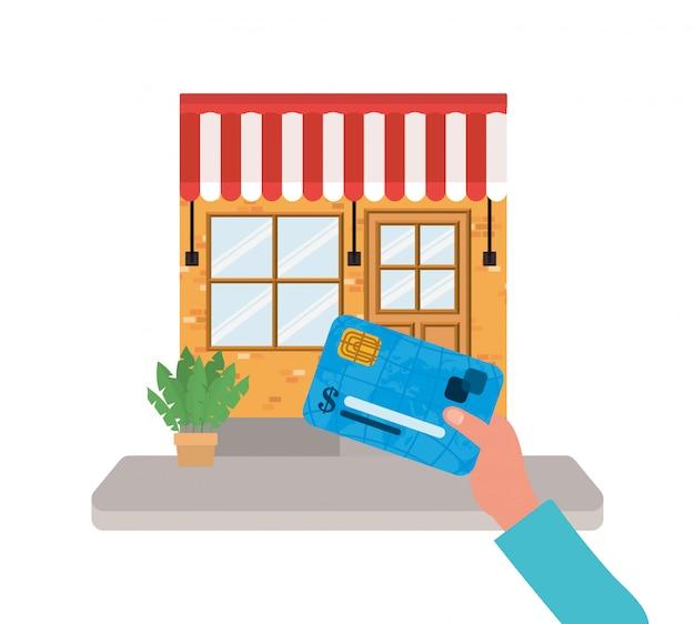 De creditcard van de handholding voor lokaal opslagontwerp van winkel koopt kleinhandels en marktthema
