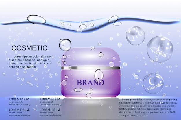De crème op waterbasis, paarse bel op de achtergrond van water en luchtbellen.
