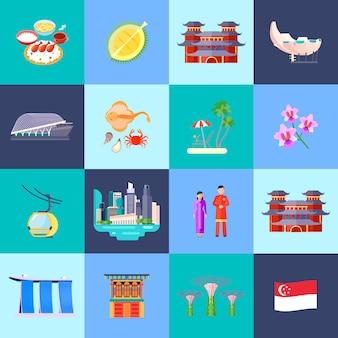 De cultuur van singapore kleurde vlak die pictogram met hoofdaantrekkelijkheden in kleine cirkels vectorillustratie wordt geplaatst