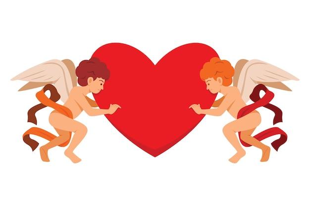 De cupido houdt twee zijden van een groot hart vast voor de valentijnsdecoratie.