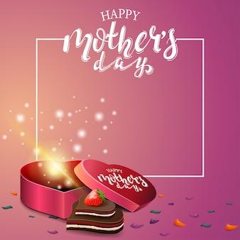 De dag die van de gelukkige moeder roze kaart begroet
