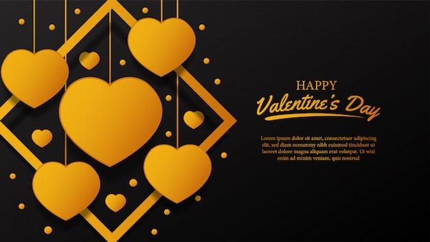 De dag gouden haard van de gelukkige valentijnskaart